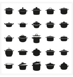 Pot icon set in simple monochrome style vector