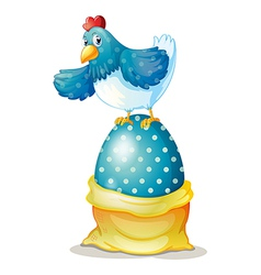 A hen above a big easter egg vector