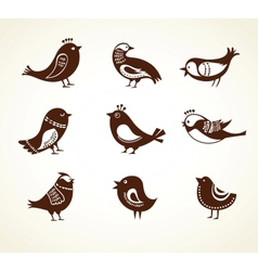 set of cute decorative birds vector image
