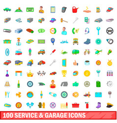 100 service and garage icons set cartoon style vector