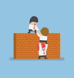 Businessman help his friend to cross the brick vector