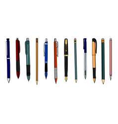 set of colored pencils and pens vector image