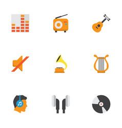 music flat icons set collection of male shellac vector image