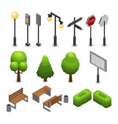 City street elements set vector