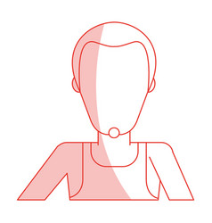 Red silhouette shading faceless half body man with vector