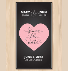 Save the date card with heart on wood vector