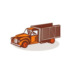 Vintage delivery pick-up truck vector