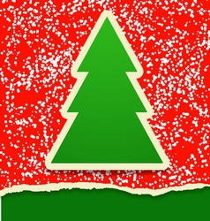 Rip paper card with christmas tree vector