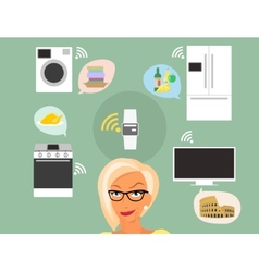 Blond woman thinking about smart gadgets at home vector
