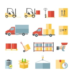 Warehouse transportation and delivery flat icons vector