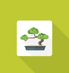 Flat style bonsai icon with shadow vector