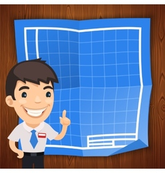 Blueprint background with engineer vector