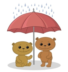 teddy bears and umbrella vector image