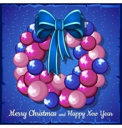 Wreath of pink christmas balls and blue bow vector