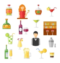 Bar flat icons collection vector