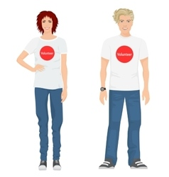 Young guy and girl volunteers in t-shirts jeans vector