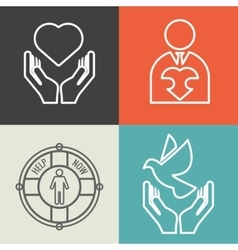 Charity donation and volunteer concept vector