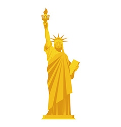 Golden statue of liberty precious symbol of vector