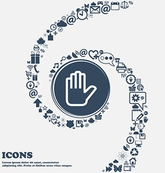 Hand print Stop icon sign in the center Around the vector image