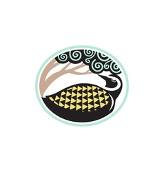 Golden plover looking up tree oval tribal art vector