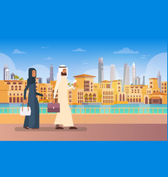 arab couple walking dubai modern building vector image