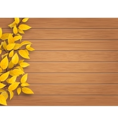 Autumn tree branch on weathered wooden background vector
