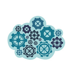 Blue gears icon image vector