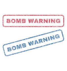 Bomb warning textile stamps vector