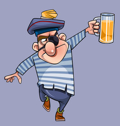 cartoon one-eyed man in a seamans clothes vector image vector image
