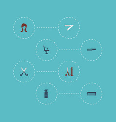 Flat icons shears blade elbow chair and other vector