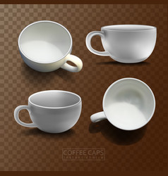 Four coffee cups in different angles vector