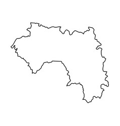 guinea map of black contour curves on white vector image vector image