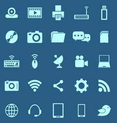 Hi tech color icons on blue background vector image vector image