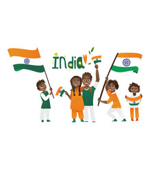 indian people holding and waving tricolor flags vector image vector image