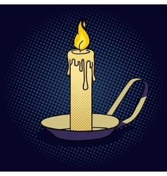 Lighted candle pop art style vector image