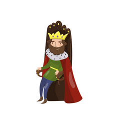 majestic king in golden crown sitting on wooden vector image vector image