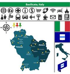 Map of Basilicata vector image vector image