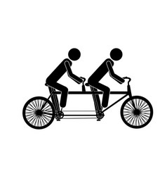 Monochrome pictogram of men in tandem bicycle vector