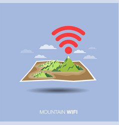 Mountain map wifi flat design icon vector