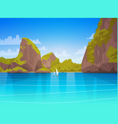 Sea landscape beautiful asian beach with mountain vector