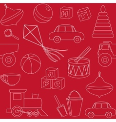 Seamless pattern with toys silhouettes vector image