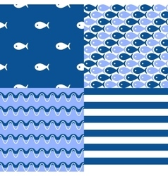 Seamless sea patterns set vector image vector image