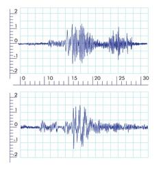 Seismographs graph output by a seismograph vector