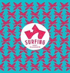 Shark surfing seamless pattern and emblem vector image vector image