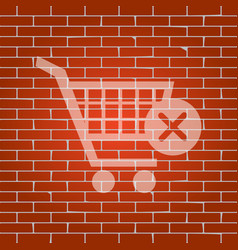 Shopping cart with delete sign whitish vector