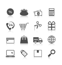 Shopping Icons Gray with Reflection vector image vector image