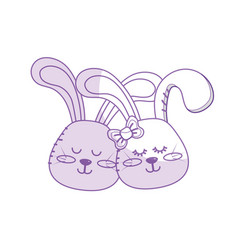 Silhouette cute animal couple rabbit head together vector