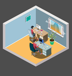 Staff around table with laptop tablet office vector
