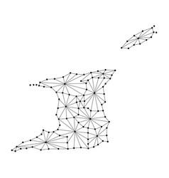 Trinidad and tobago map of polygonal mosaic lines vector