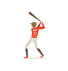 young baseball player preparing to strike with bat vector image vector image